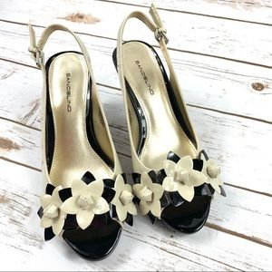 Bandolino Black & Cream Open Toe Sling Back Heels
